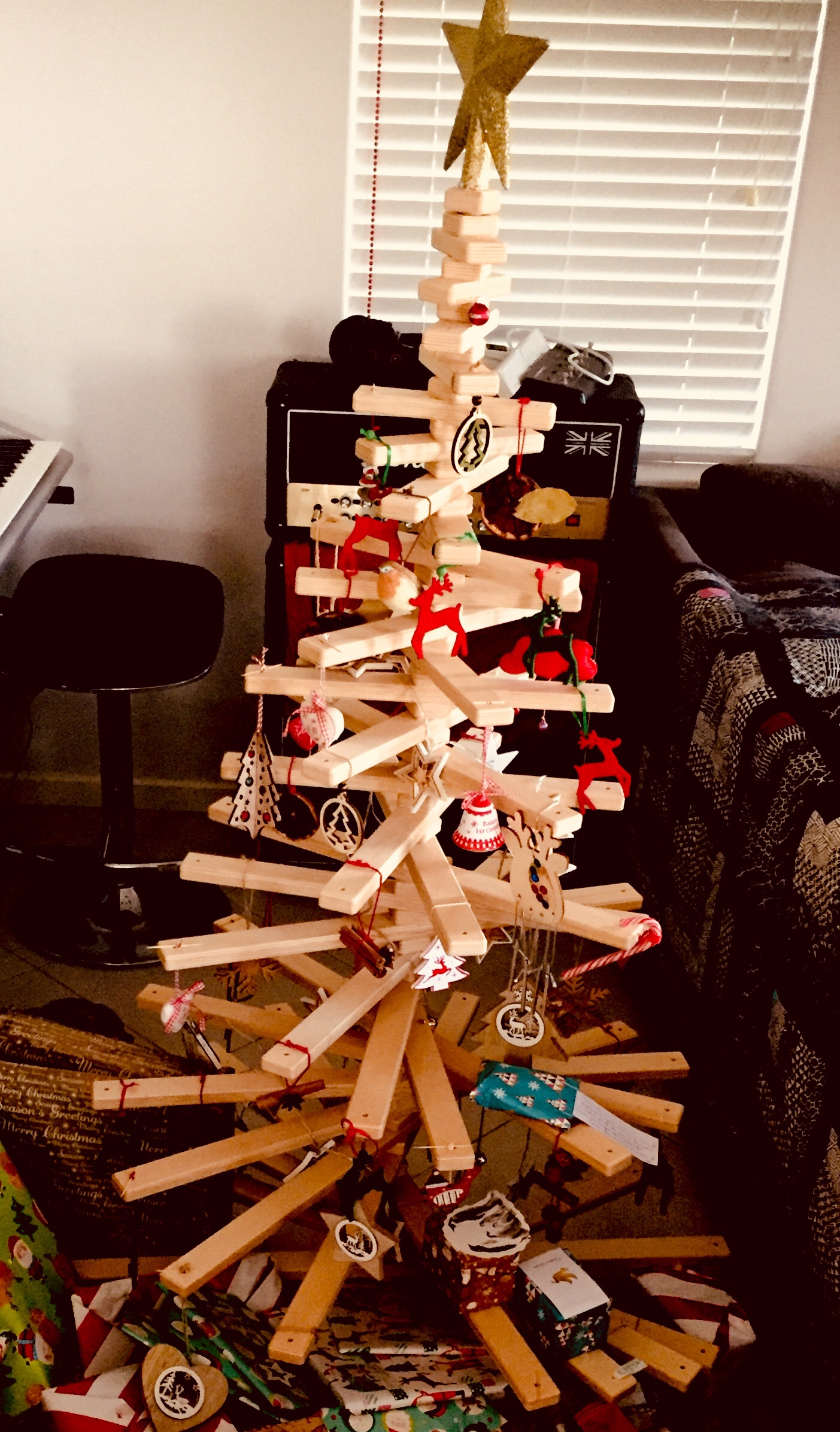 Wooden christmas tree and decorations