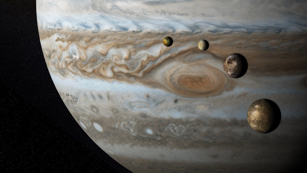 Jupiter with four moons, not to scale