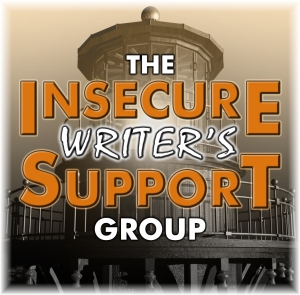 Insecure Writer's Support Group logo and text, in orange and white, with a lighthouse in the background.