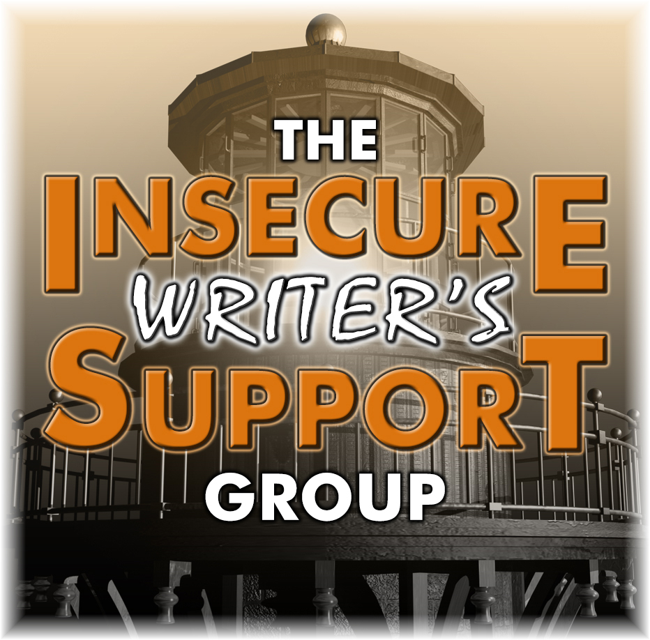 Insecure Writer's Support Group badge in orange; lighthouse in background.