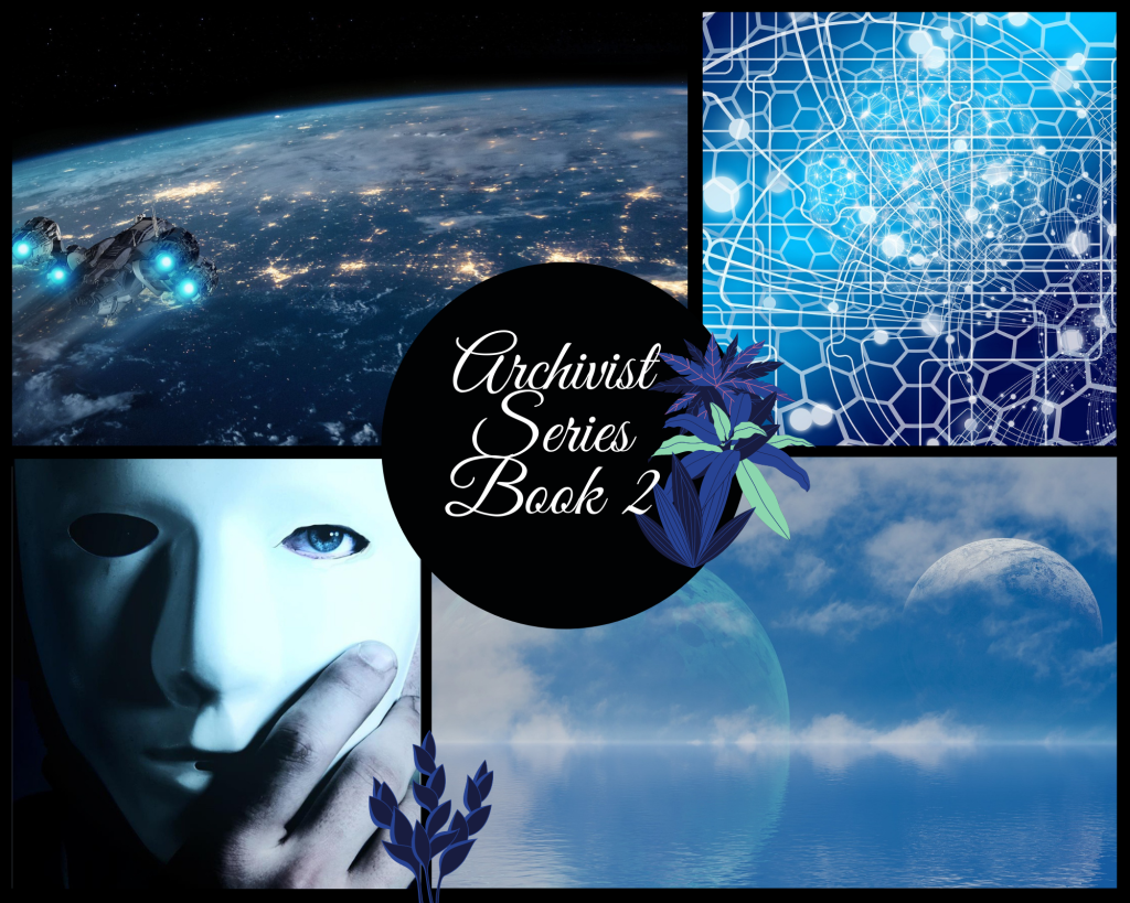Blue themed collage. Images clockwise from top left: spaceship over an Earth-like planet; hexagonal graphic design with white spots; ocean to horizon with two moons in the sky and clouds; hand removing a white featureless mask from a face with one blue eye visible.