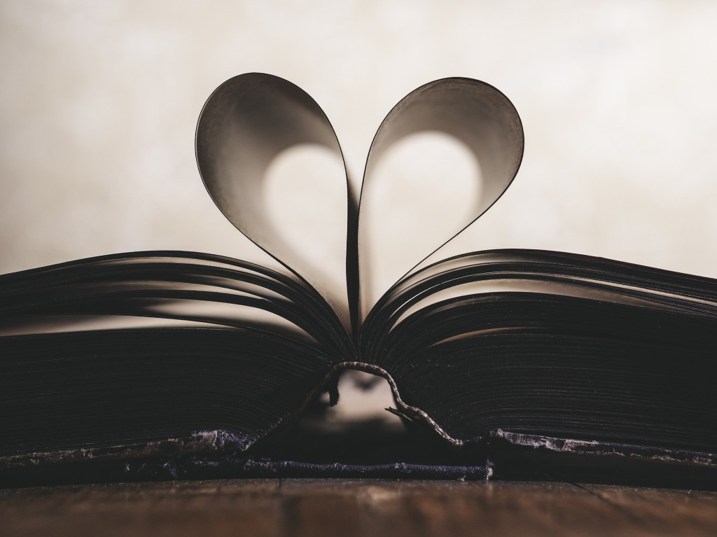 Open book with two pages folded to make a heart shape