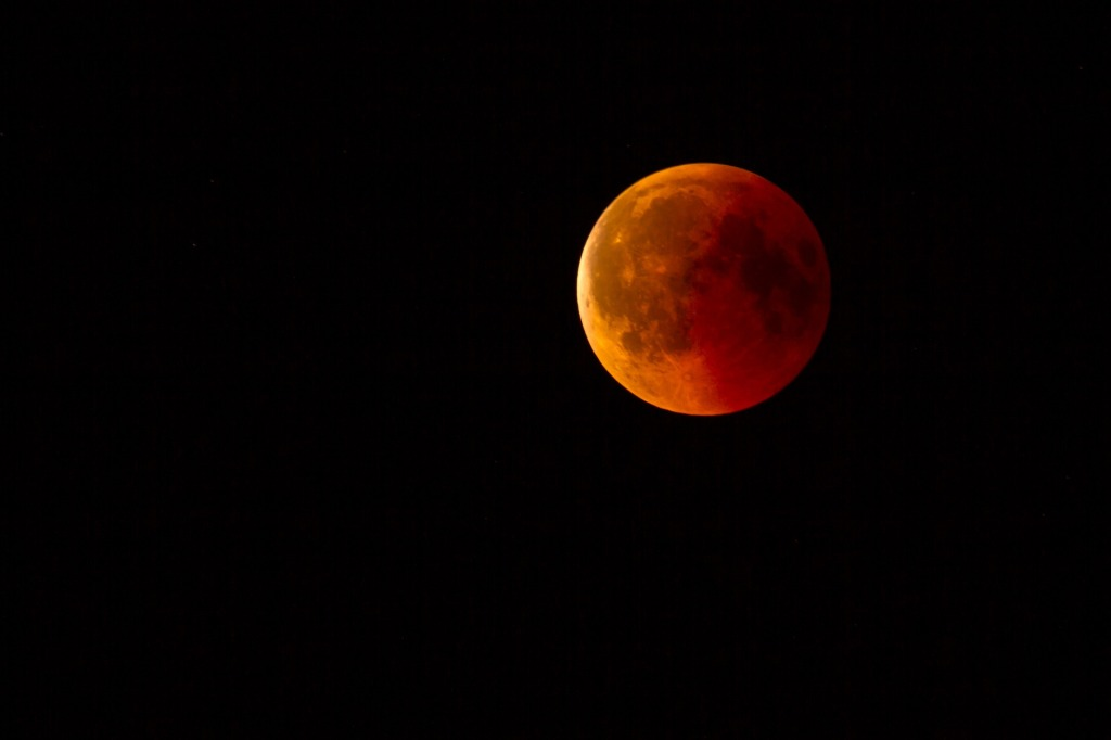 blood moon on a black sky