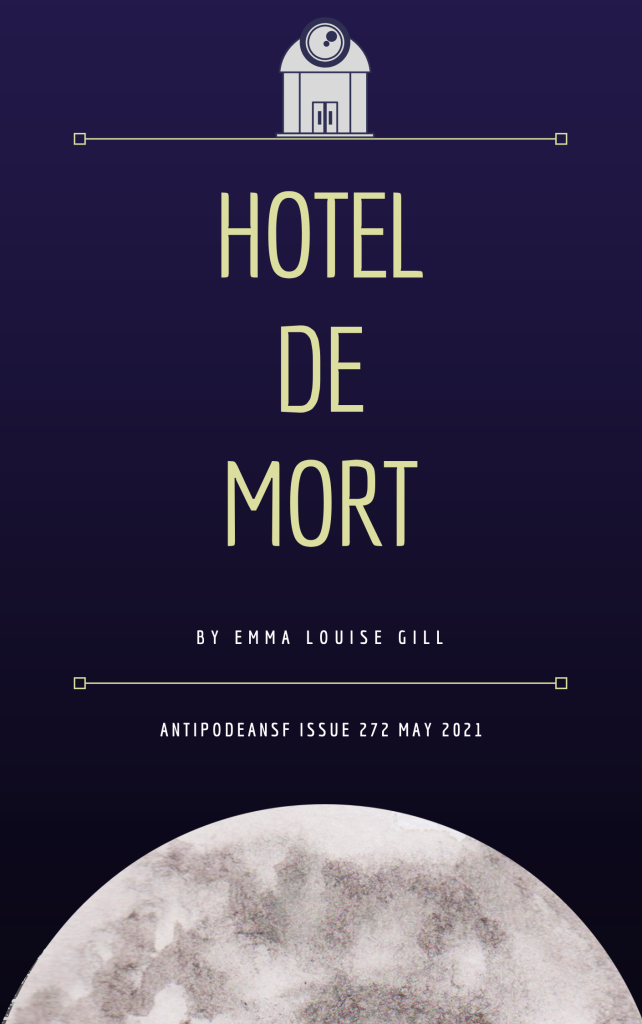 Hotel De Mort in yellow on blue background; image of a hotel door and a moon