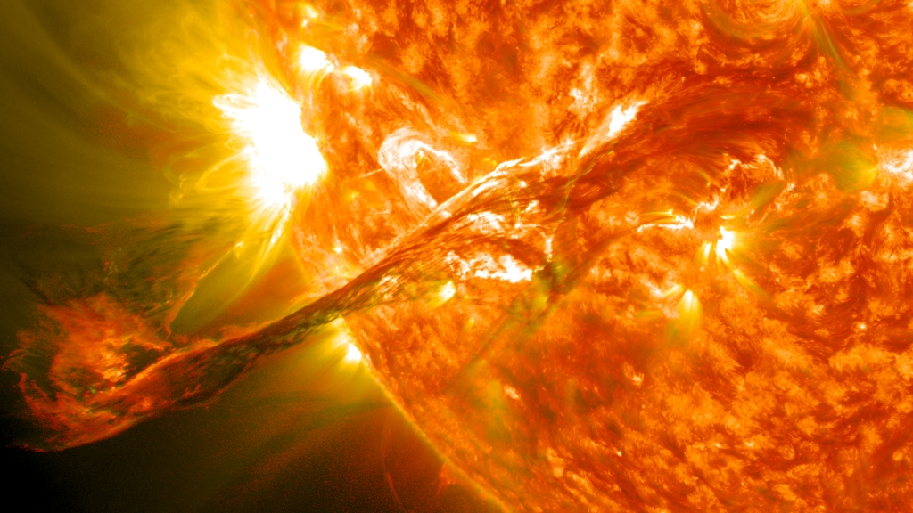 Coronal Mass Ejection coming out of the sun on August 31st, 2012.