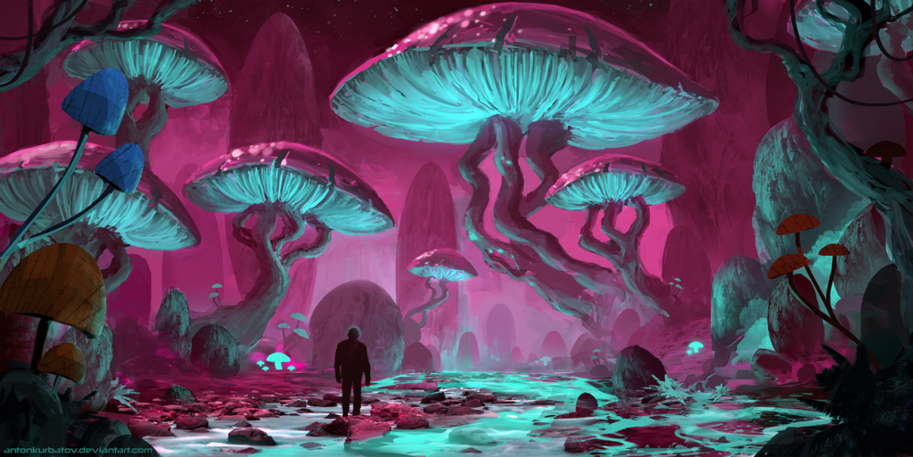 Large fungi structures with purple tops and green undersides, a human figure facing away stands beneath them. Cyan river flows between magenta rocks and glowing fungi. Alien/fantasy landscape.