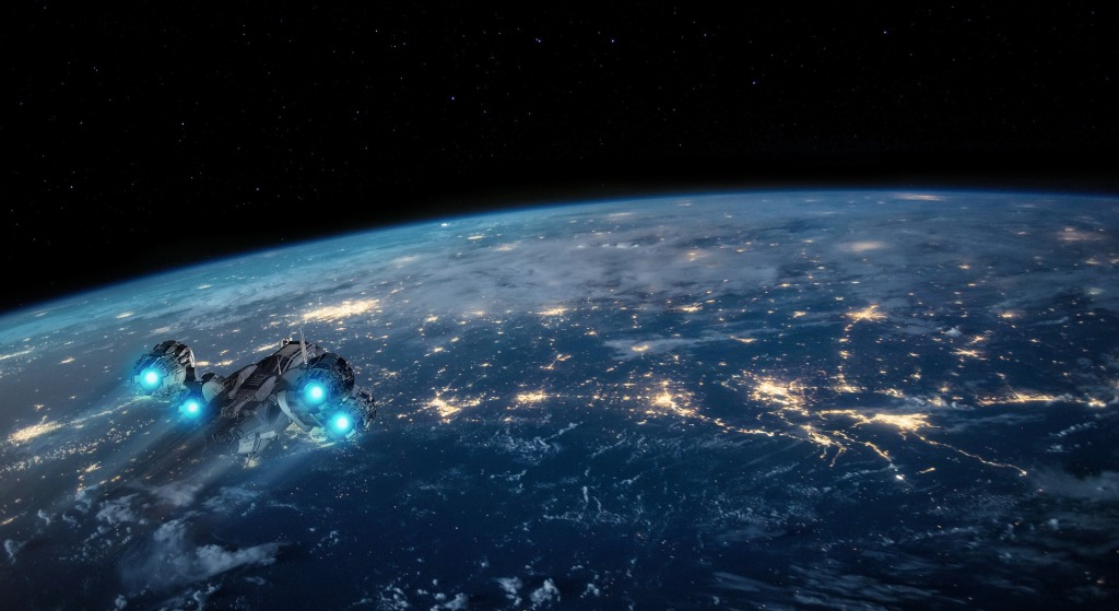 Futuristic spacecraft flying over Earth lit up at night, space visible beyond