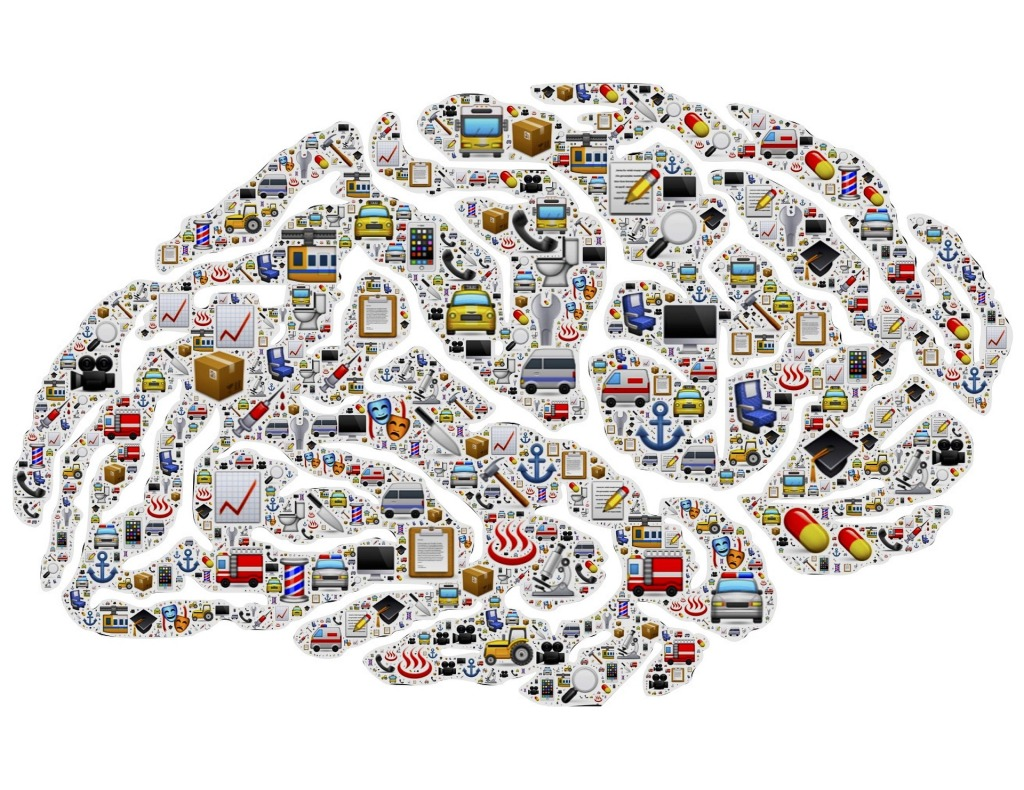 Digital stylized brain with repeated emoticons related to work, organisation, busyness, vehicles, health, media, etc.