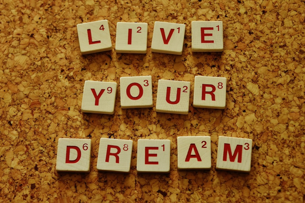 Scrabble letters spelling: Live Your Dream, on a corkboard background