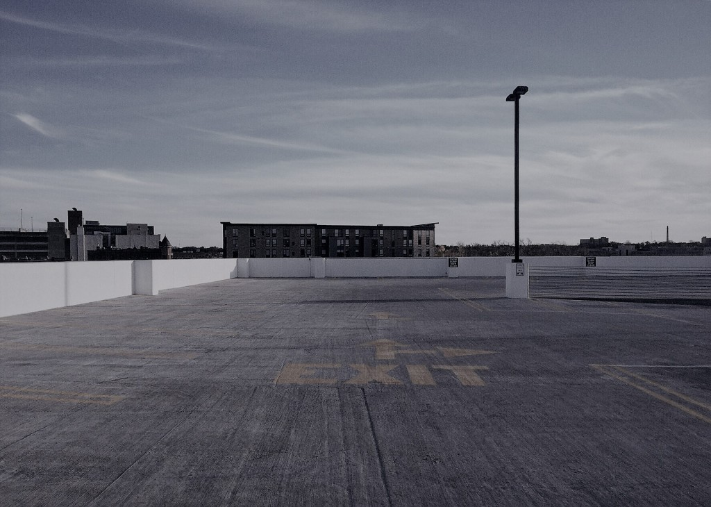 Empty rooftop parking lot