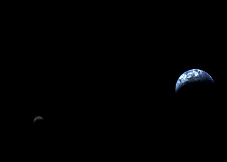 Image of the Earth and Moon on black