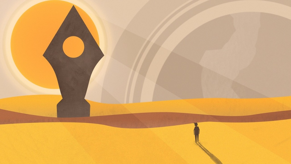 Computer generated image of sandy dunes, a large orange sun, grey sky, a small figure with a long shadow, and a large rhomboid statue with a wide base ahead of them.